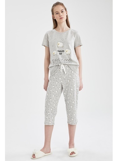 DeFacto Relax Fit Kuzu Desenli Kısa Kol Pijama Takımı Gri